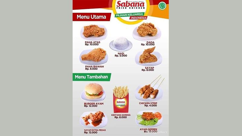 menu ayam goreng sabana
