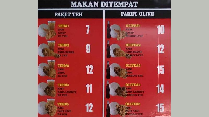 menu olive